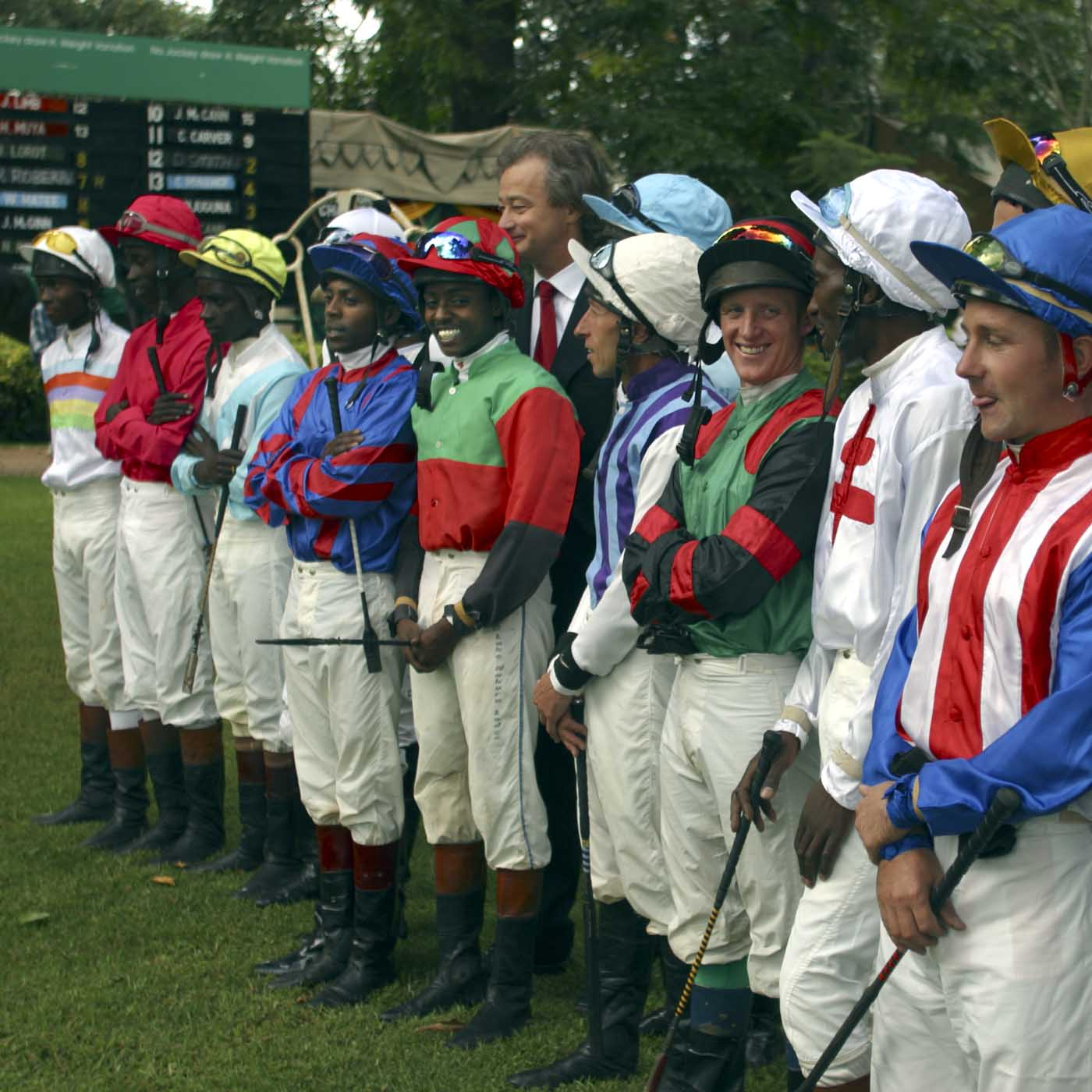 Nairobi, Kenya, May 9th 2004 The jockeys posing for a picture before the Kenyan Derby 2004.